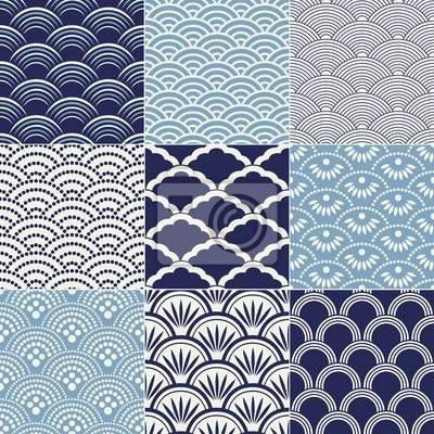 Papier peint motif de vagues de l 39 oc an transparente for Meuble japonais bleu