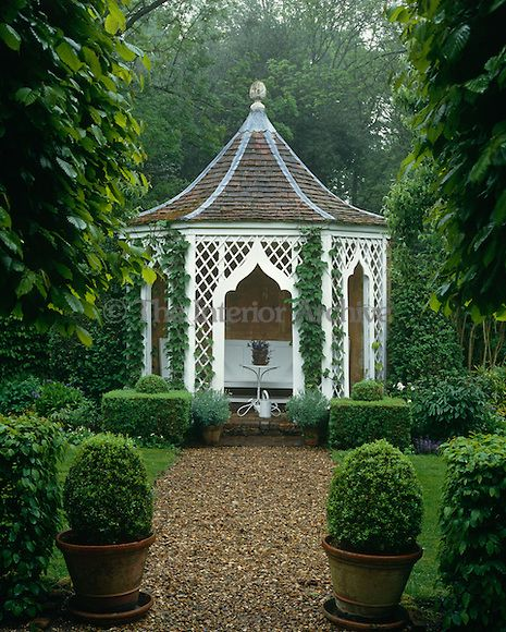 One of a pair of garden houses which were designed by John Fowler in the grounds of his hunting lodge