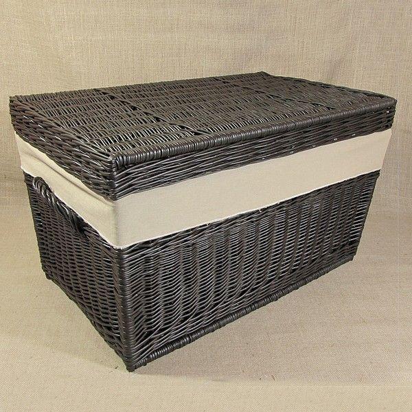 Wiklinowy kufer z płaskim wiekiem - wenge z obszyciem ( LENDA )