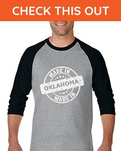 Ugo Made in OK Oklahoma Map Oklahoma City Sooners Home of University of Oklahoma Unisex Raglan Sleeve Baseball T-Shirt - Sports shirts (*Amazon Partner-Link)