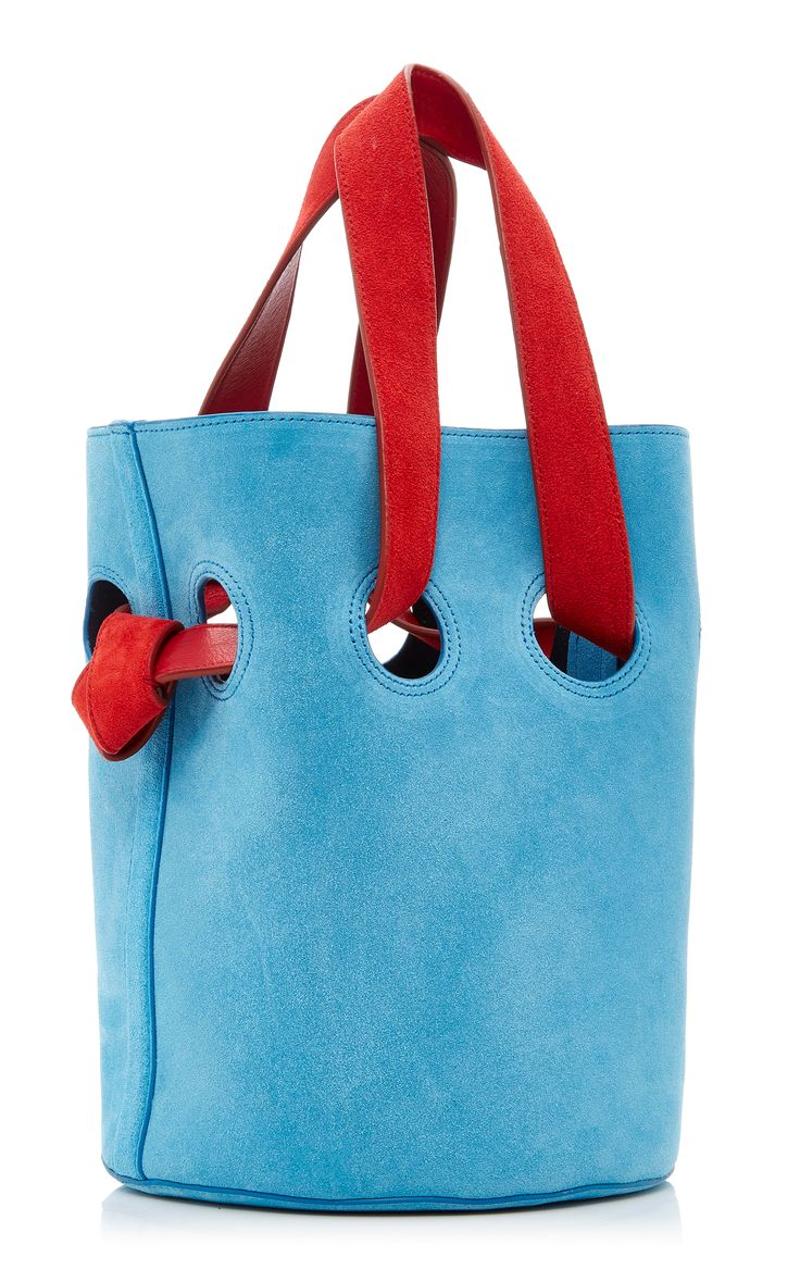 d93fe6980d72 Goodall suede bucket in a very pretty blue with red accent handles LOVE