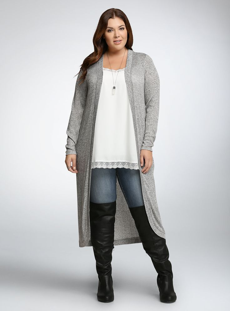 Knit Open Front Duster Cardigan,