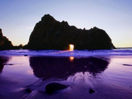 PURPLE Pfeiffer Beach is located in California, USA and is said to be hard to…