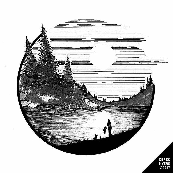 Check out this #nature #illustration from Derek Myers (@derek_the_deliman) of a black-and-white lakeside sunset.  You dont see many black-and-white drawings that attempt to depict a sunset probably because most people might think Well without the color why bother? but Derek used some very interesting technique to give us the impression that the sun is setting well beyond the position of the sun in the sky.  The density of the horizontal lines in the sky decreases as you approach the horizon…