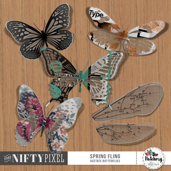 SPRING FLING | Acetate Butterflies This assortment of stylised Butterflies each have a unique shape, pattern and colour making them perfect to add to all your scrapbook designs. They are also designed to look like acetate so have some C-thru sections making them incredibly unique and fun to play with.  DOWNLOAD INCLUDES:  4X Butterflies + 2X Wings (.png) Pack includes SHADOWED and UNSHADOWED versions.