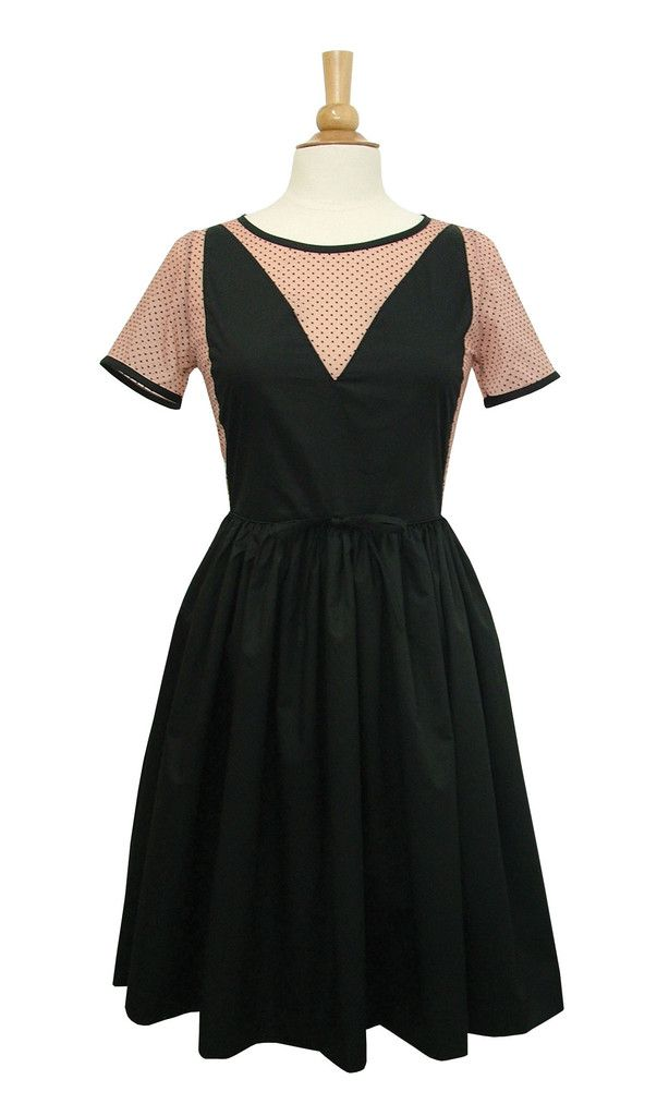 Valentina dress- black & blush - Swonderful Boutique