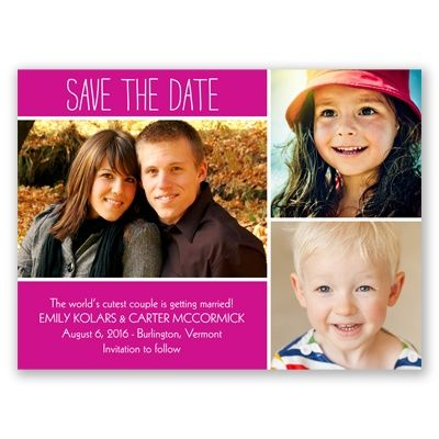 From Kids to Kisses - Begonia - Save the Date This is a great idea!