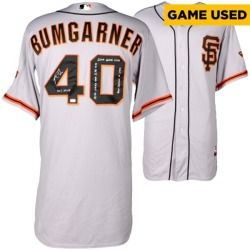 Madison Bumgarner San Francisco Giants Fanatics Authentic Autographed Grey Game Used Jersey with Multiple Inscriptions