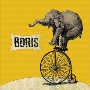 Geboortekaartje Boris - sticker voor doopsuiker - Pimpelpluis - https://www.facebook.com/pages/Pimpelpluis/188675421305550?ref=hl (# olifant - olifantje - fiets - vintage - cirkus - retro - geel - dieren - origineel)