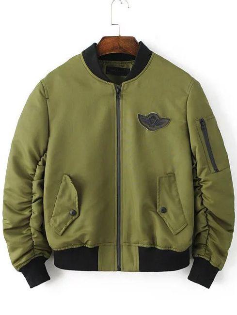 цвета хаки модная куртка с аппликацией