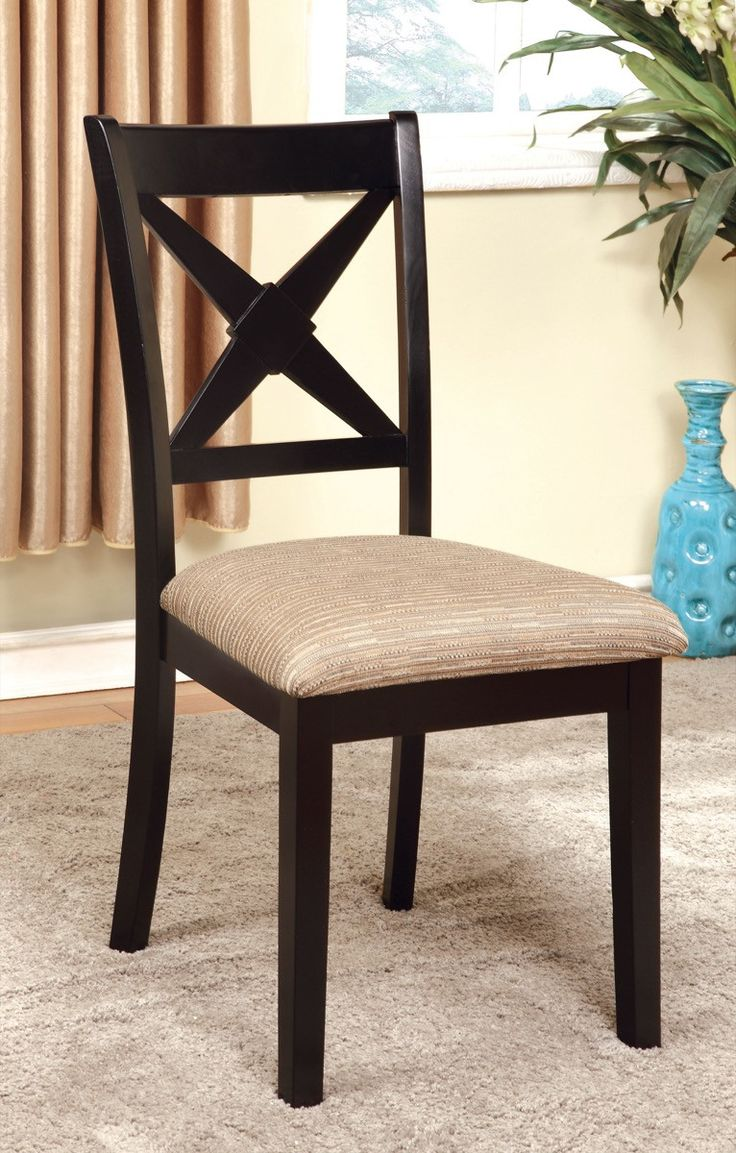 New trend painted chairs with dipped or raw legs jelanie - Furniture Of America Adelina 2pc Criss Cross Back Dinner Chair Dark Oak Black
