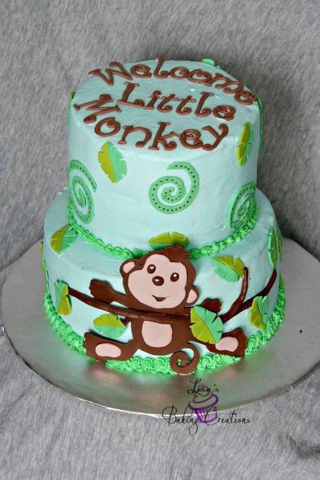 17 best images about monkey baby shower cakes on pinterest monkey invitations sheet cakes and - Baby shower cakes monkey theme ...
