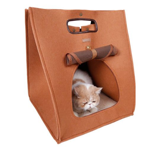 3 in 1 pet bed carrier and cave eco friendly felt