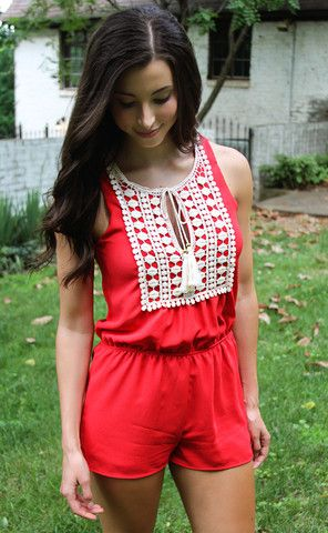 tassel tied embroidered romper - red | ShopRiffraff.com