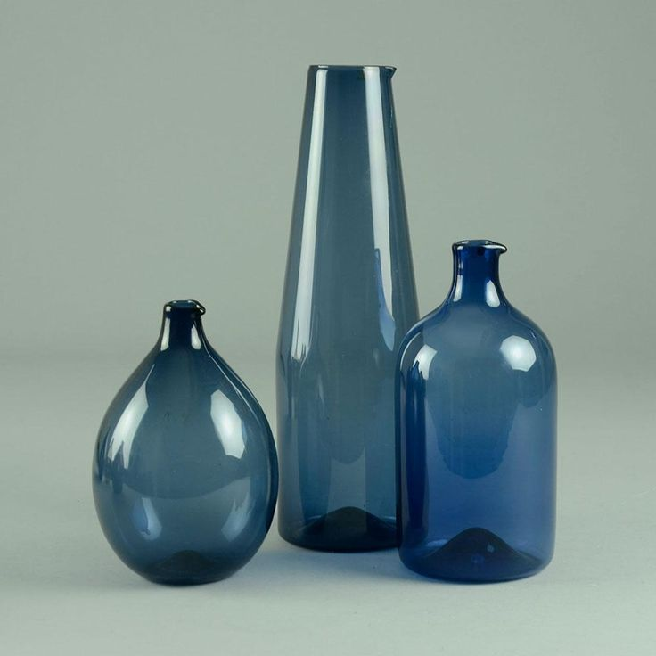 Three i-glass decanters by Timo Sarpaneva for Iittala