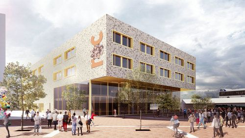 MBO college Almere Poort | The new to be built MBO school for ROC of Flevoland in Almere Poort is located at Olympia Quarter East in Almere Poort a small new town just east of Amsterdam | Location: Almere Poort, NL Design: 2016 – Completion: 2018 Site: .5 ha Program: 6.750 m2 educational facilities, 65 parking places and outdoor spaces Client: Lithos Bouw, Amersfoort + ROC van Amsterdam, Amsterdam Building Costs: Euro 6.740.000,- Associates: OZ Architect Contractor: Lithos Bouw, Amersfoort