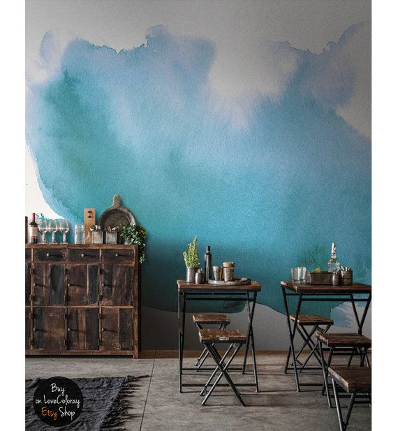 Watercolor wall mural Splash wall art Watercolor by loveCOLORAY via @etsy #walls #wallpaper #removable_wallpaper #watercolor #blue #shop_display