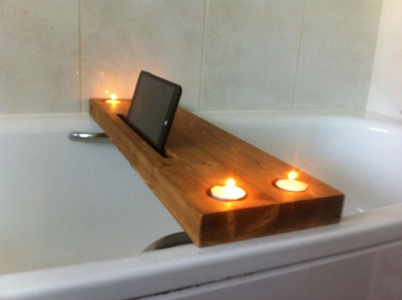 wooden bath tray bath rack with tealight by JustOriginalsIn