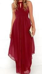 All For You High Waist Chiffon Maxi Dress - XS / Wine Red