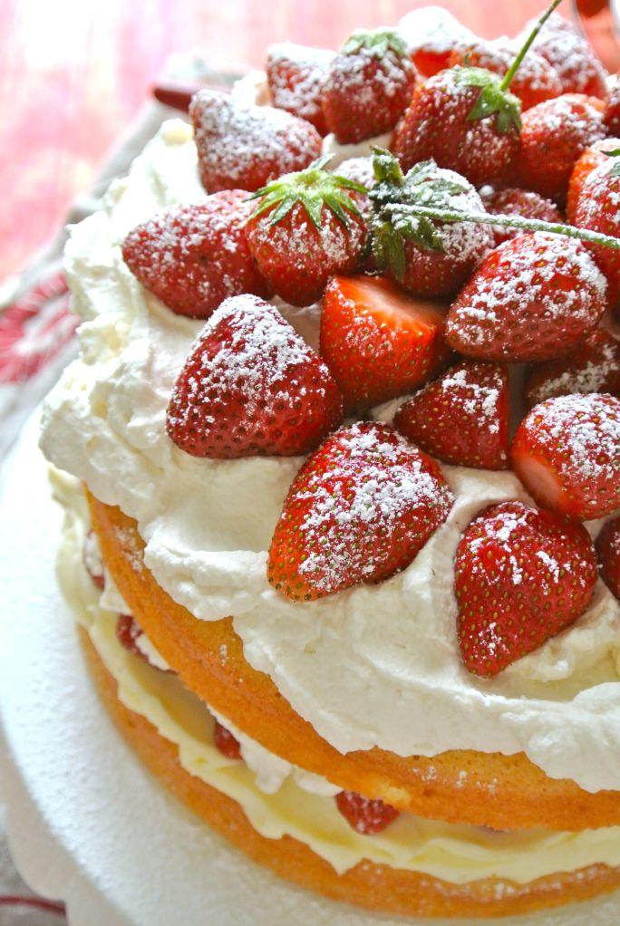 Ruby Red Strawberry Victoria Sponge Cake