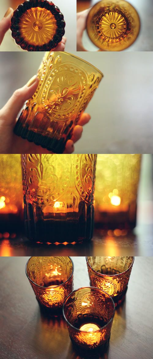 Vintage glasses+Tea lights.... I might have to make a good will run ;)