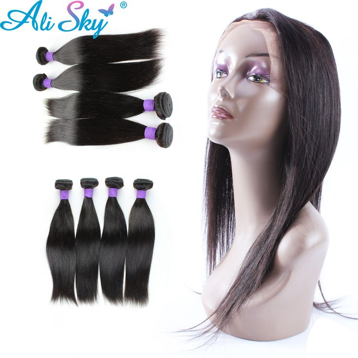 Sky Hair 8A Mink Indian Virgin Hair 360 Lace Frontal with Bundle Deals 2 pcs/lot Straight Extension Weaving Closure Aliexpress