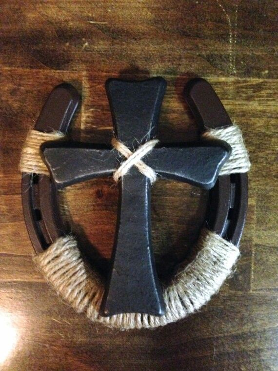 Horse shoe cross burlap muslin paper and clay for Horseshoe welding designs