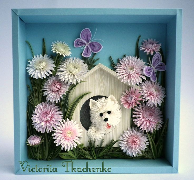 Quilling picture - Love quilling picture - Birthday quilling picture - Sweet West Highland Terrier - Charmer white dog