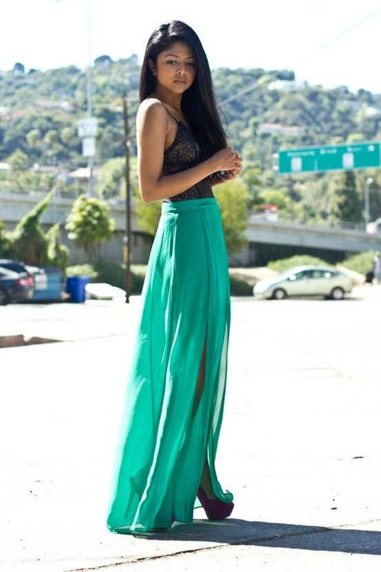 This color maxi skirt
