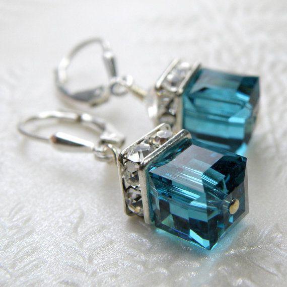 Teal Blue Topaz Crystal Earrings Sterling Silver, Dangle Modern Drop Cube, Wedding Bridesmaid Handmade Jewelry, December Birthday Birthstone...