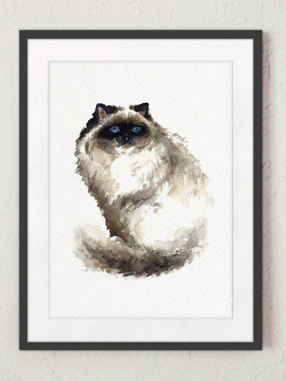 Mürrische Katze Himalaya-Kunstdruck von ColorWatercolor auf Etsy