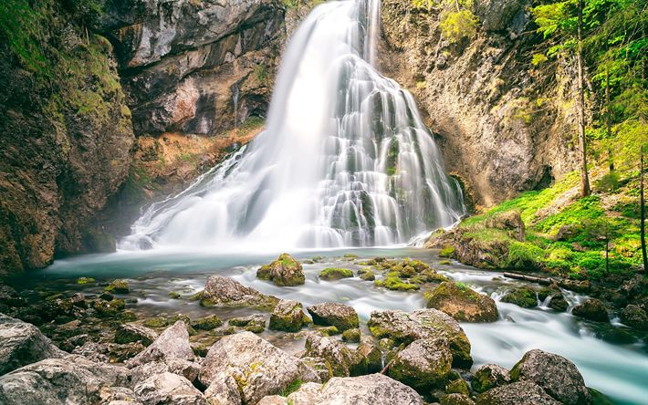 Download wallpapers mountain waterfall, lake, forest, mountain landscape, rock