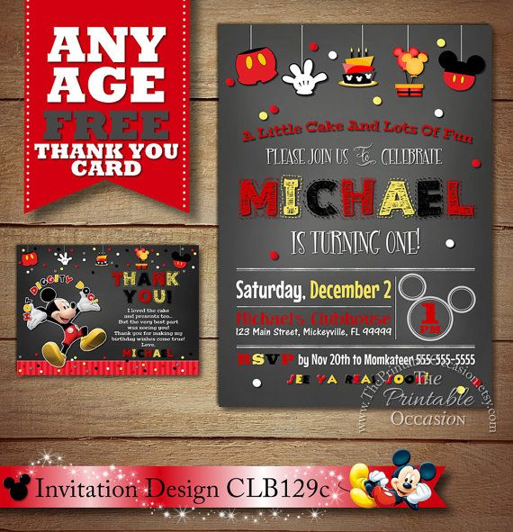 Best Chalkboard Mickey Mouse Invitations  Party Printables