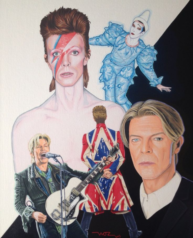 Artist WOZ fine art painting 'David Bowie' Acrylic on canvas 16x20 inch. Limited Edition Prints available on EBay search 'Artist WOZ'