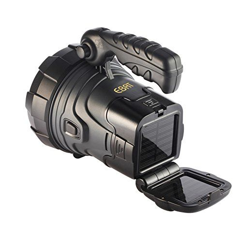EBAT Rechargeable Solar Spotlights Ultra Bright Flashlight LED Emergency Light for Outdoor Handheld Searchlight ** Check this awesome product by going to the link at the image.