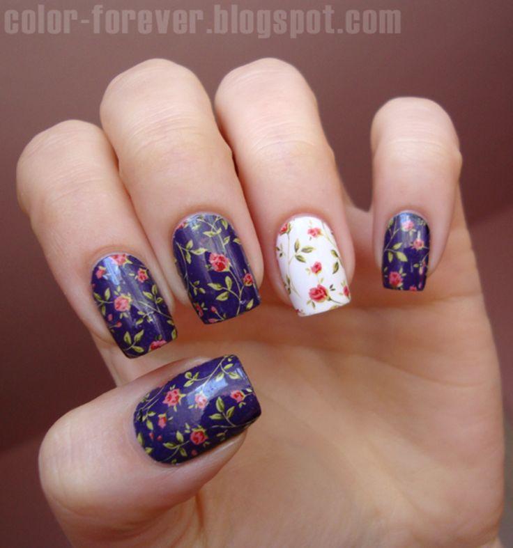 roses nail art by ania