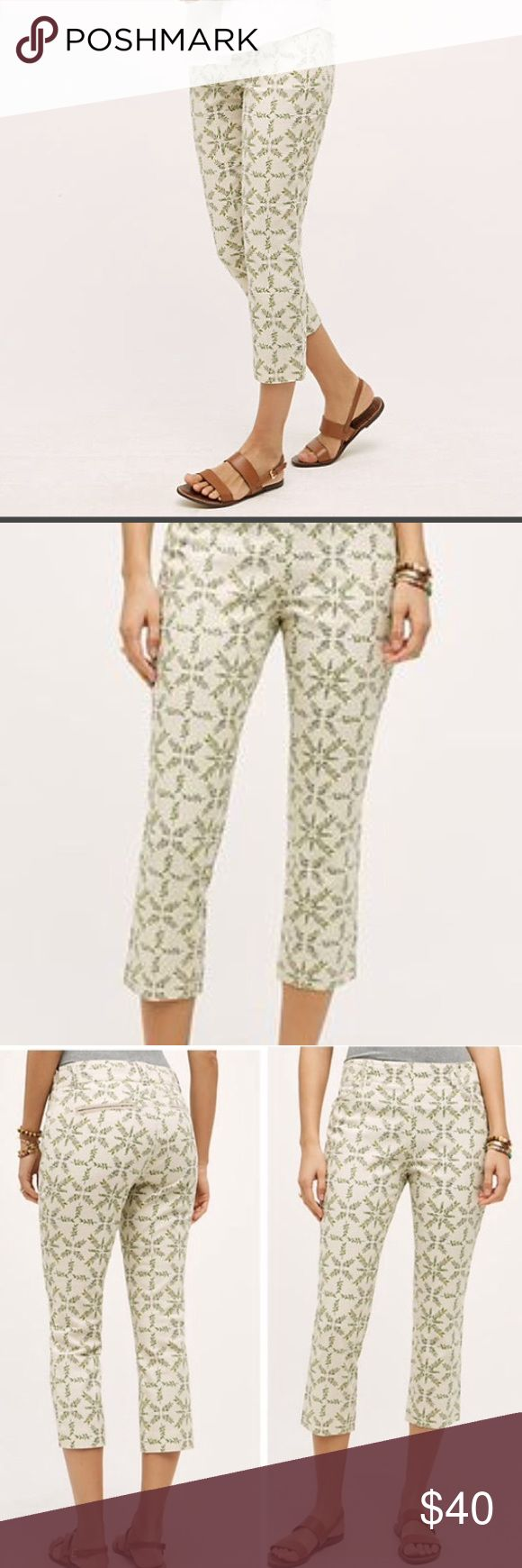 Cropped Medallion Charlie Trousers Cream trousers with green leaf pattern from Anthropologie. Worn only twice. Size 2. Side zipper. Anthropologie Pants Ankle & Cropped