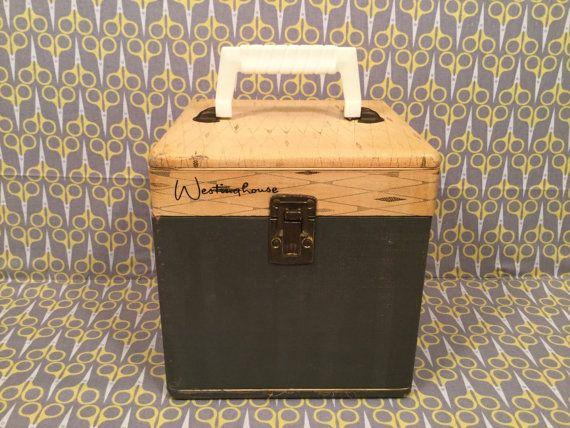 "Westinghouse Blue Cream vinyl carrier wood box 7"" Vinyl Record storage box 45RPM…"