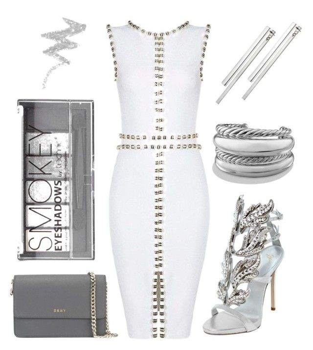 """White & silver"" by tovenilsen on Polyvore featuring Giuseppe Zanotti, David Yurman, Kain, Boohoo, DKNY and NYX"