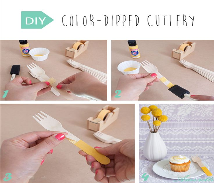 DIY: Color-Dipped Cutlery  You will need… foam paint brush craft paint in the color of your choice cup to hold paint tape wooden cutlery Tape around the utensil where you would like the paint to stop.  #DIY #cutlery #painting #wedding
