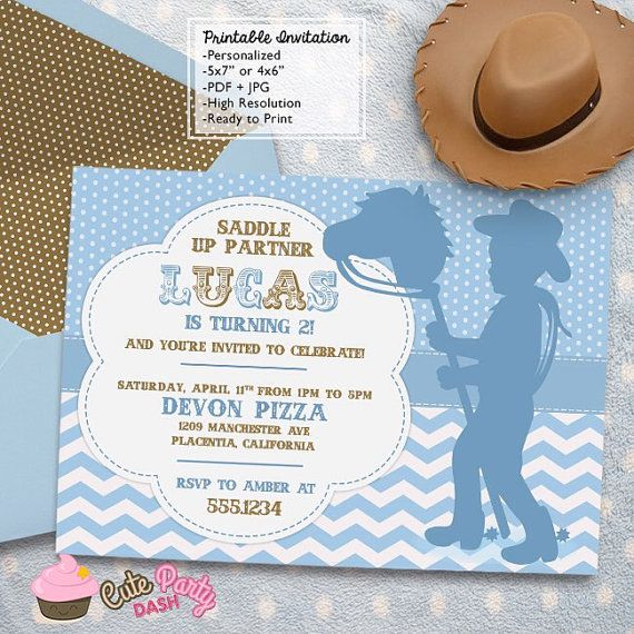 Little Cowboy Rodeo Birthday Party invitations by CutePartyDash