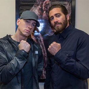 Eminem and Jake Gyllenhaal, I figured this out.  Eminem is doing the soundtrack for Jake's new movie.  Now it makes more sense!