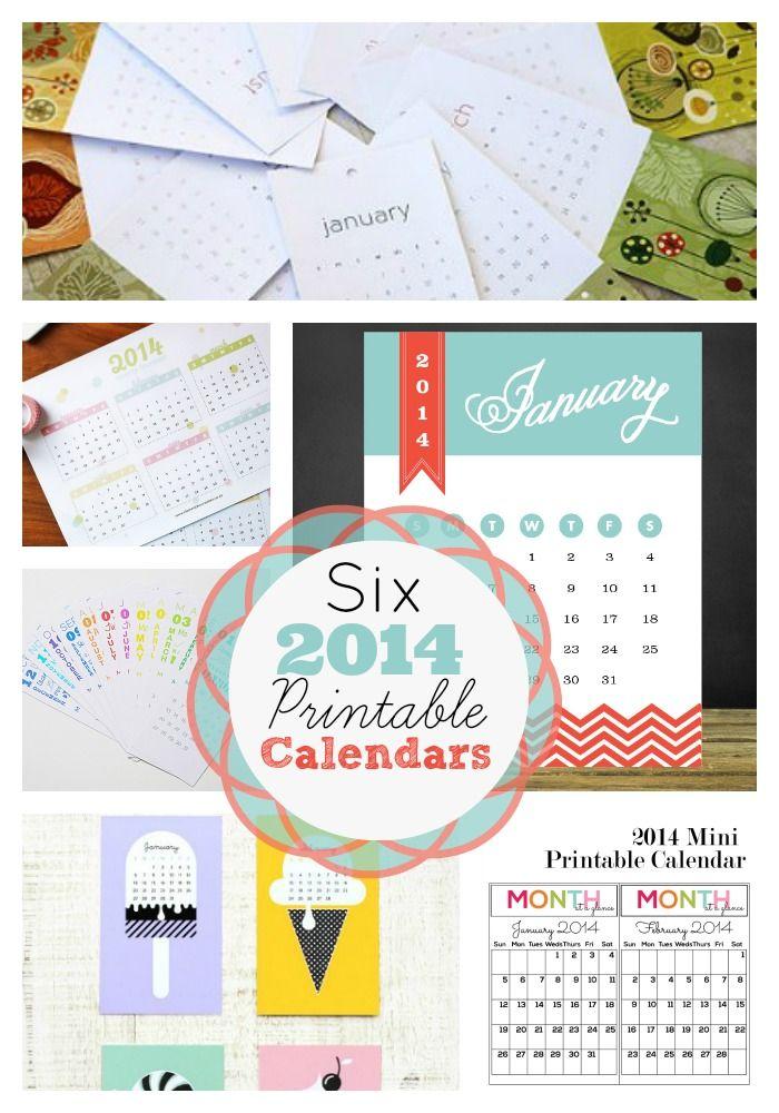 Six fabulous and free printable 2014 calendars! www.skiptomylou.org #printablecalendars #2014calendar #freeprintables