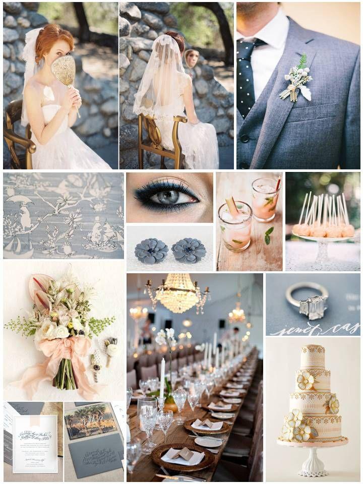 Peach & Blueberry Dream - Dusky Blue & Peach Wedding Inspiration Board