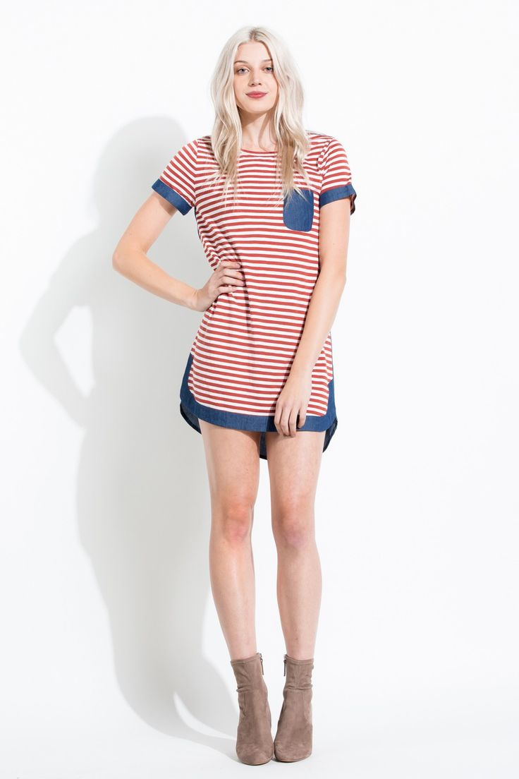 Red and white striped nautical t-shirt dress with denim accents.