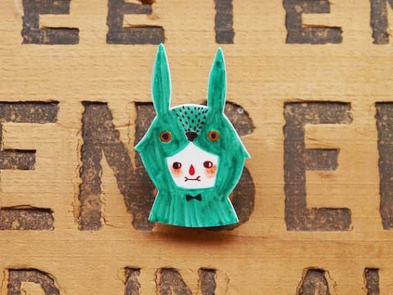 Sea Green Rabbit - Handmade Shrink Plastic Brooch or Magnet - Wearable Art - Made to Order $12 pin, permanent markers, shrink plastic, magnet size: 2.3cm(W) x 3.5cm(H)