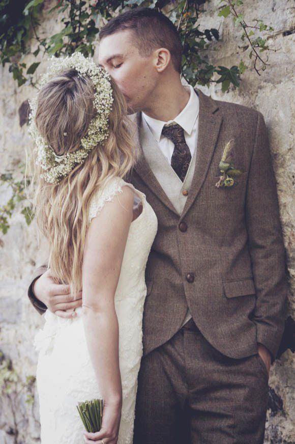 Gypsophila flower crown and groom in tweed for a romantic Flower Fairy inspired wedding with gypsophila flower crown and woodland themed wedding reception