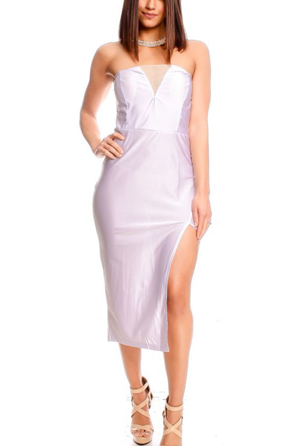 White Mesh V Shape Side Slit Strapless Party Dress #Dress