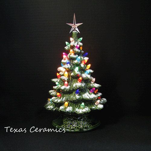snow is falling ceramic christmas tree tabletop 12 inch tall lights - 12 Inch Christmas Tree