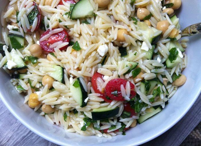 Pasta Salad: Orzo Pasta Salad, Cedar Spoons, Yummy Food, Chicks Peas ...